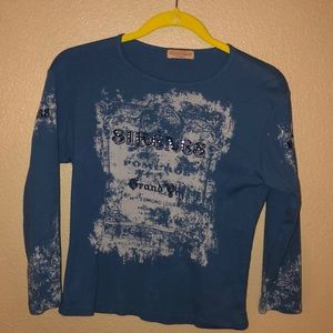 Blue Shirt with 3/4 length sleeves